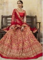 Fancy Fabric Red Lace Lehenga Choli