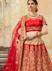 Fancy Fabric Red Lace Lehenga Choli