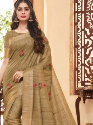 Fancy Fabric Saree in Beige