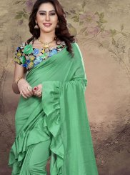 Fancy Fabric Sea Green Designer Traditional Saree
