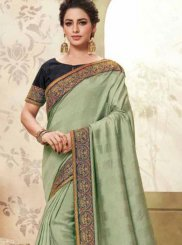 Fancy Fabric Sea Green Patch Border Classic Designer Saree