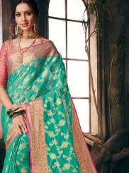 Fancy Fabric Sea Green Weaving Saree