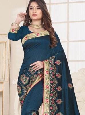 Fancy Fabric Teal Designer Traditional Saree