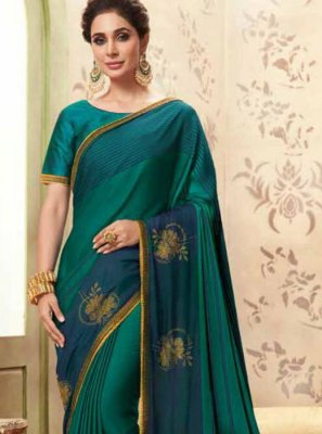 Fancy Fabric Teal Patch Border Classic Designer Saree