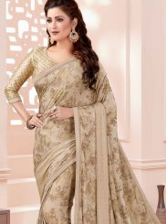 Fancy Fabric Thread Beige Classic Designer Saree