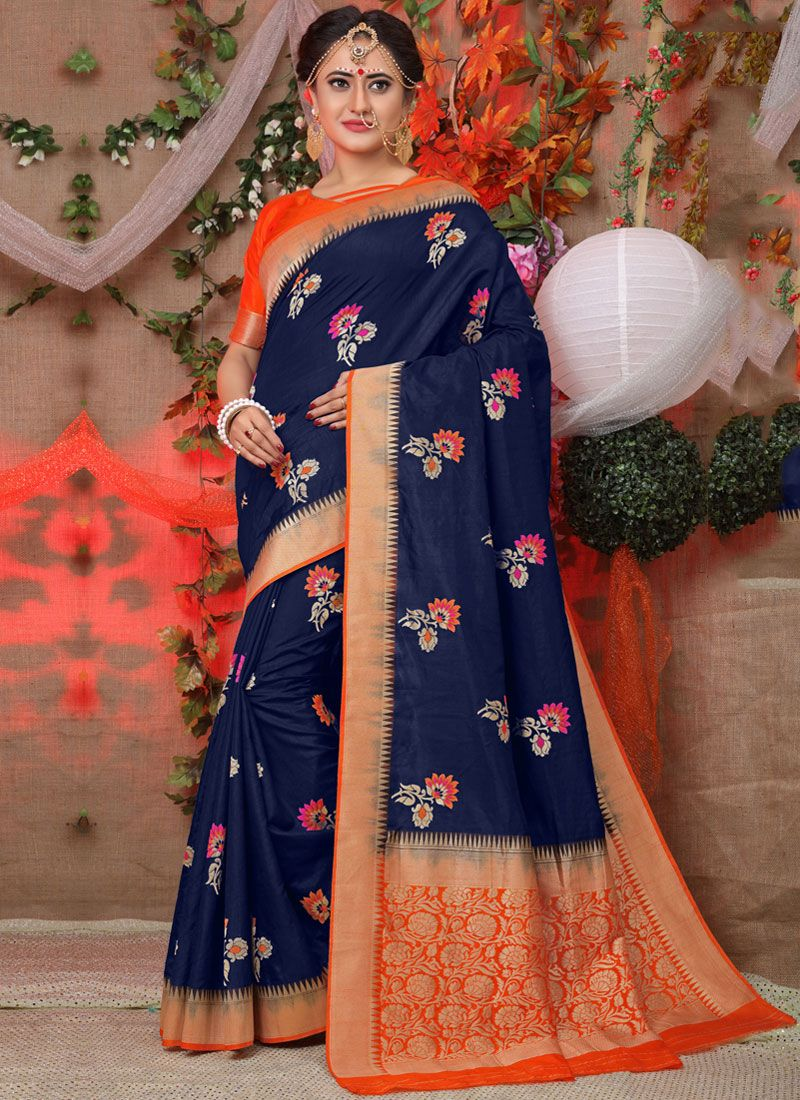 Fancy Fabric Traditional Designer Saree in Blue