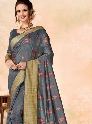 Fancy Fabric Traditional Designer Saree in Grey