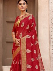 Fancy Fabric Traditional Designer Saree in Red