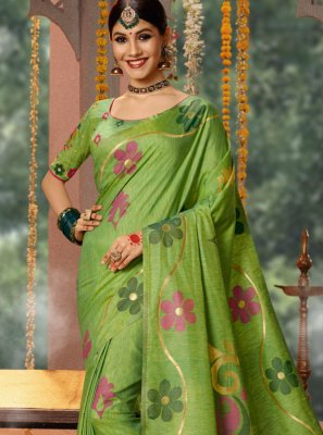 Fancy Fabric Traditional Saree in Green