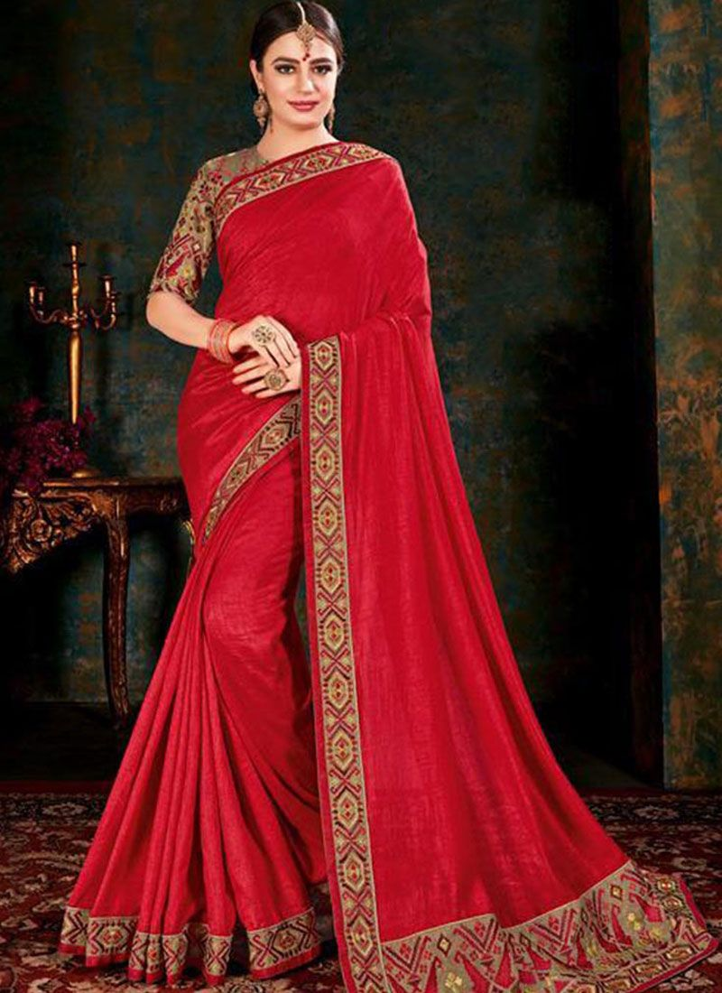 Fancy Fabric Trendy Saree in Red