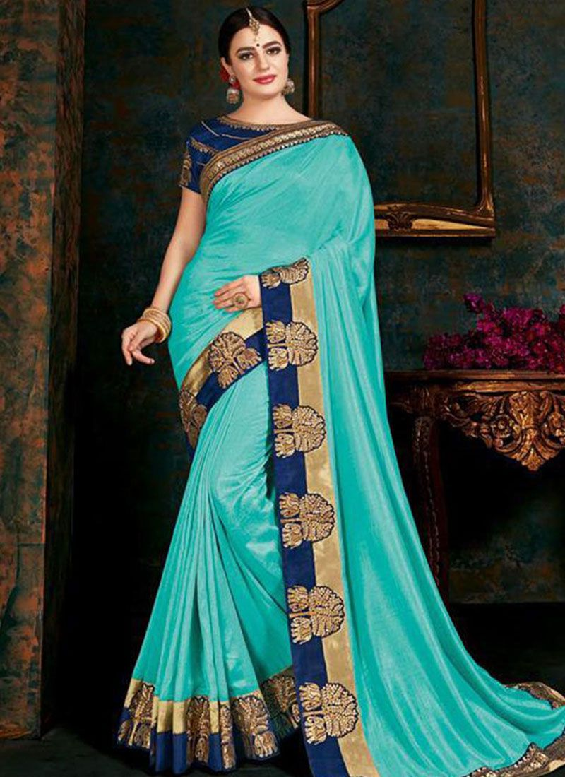 Fancy Fabric Turquoise Border Trendy Saree