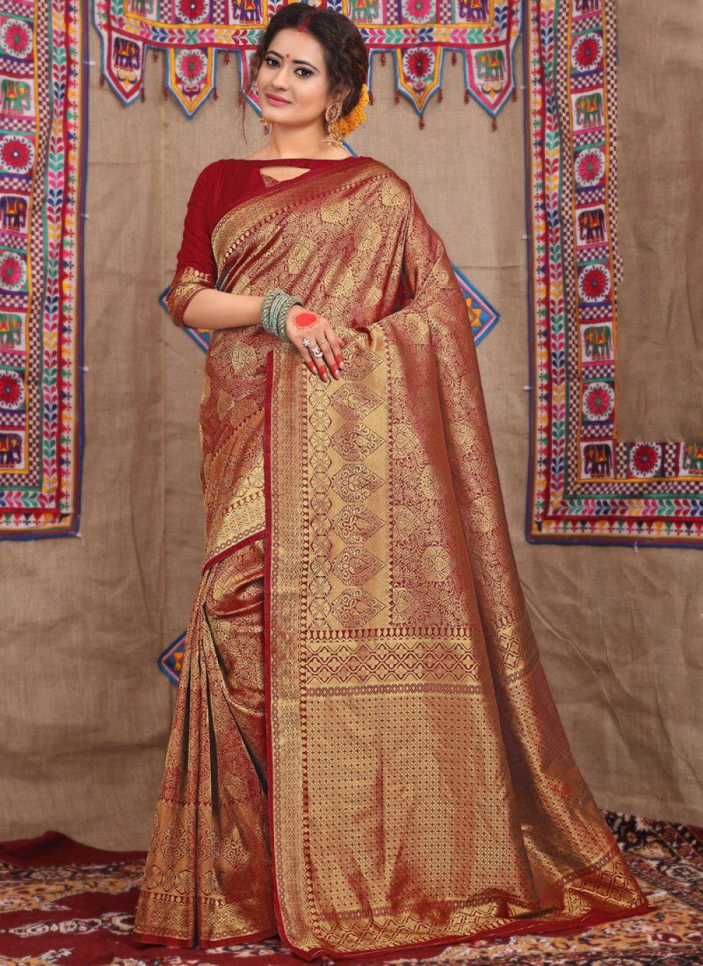 Fancy Fabric Weaving Maroon Traditional Designer Saree