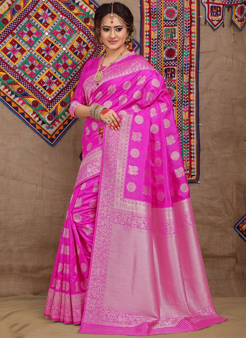 Fancy Fabric Weaving Traditional Designer Saree in Hot Pink