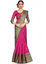 Fancy Fabric Weaving Traditional Saree in Hot Pink