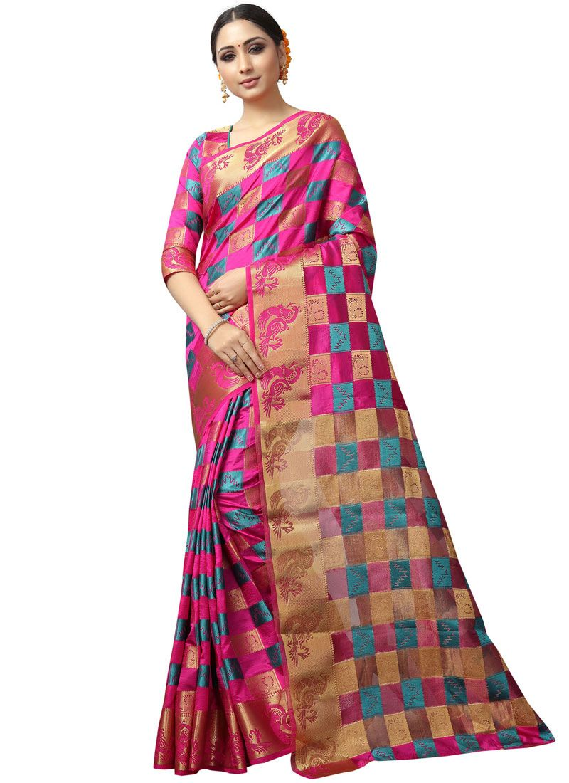 Fancy Fabric Woven Hot Pink Traditional Saree