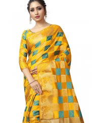 Fancy Fabric Woven Traditional Saree in Yellow