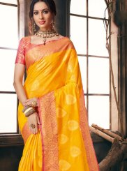 Fancy Fabric Yellow Classic Saree