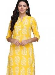 Fancy Fabric Yellow Print Casual Kurti