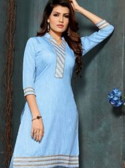 Fancy Fancy Fabric Blue Party Wear Kurti