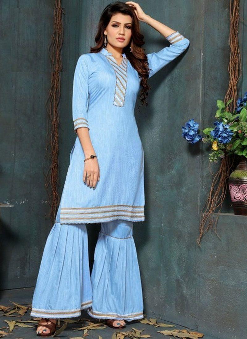 Fancy Fancy Fabric Blue Party Wear Kurti