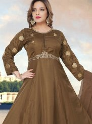 Fancy Fancy Fabric Brown Readymade Anarkali Suit