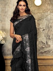 Fancy Fancy Fabric Designer Saree in Black