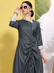 Fancy Fancy Fabric Grey Party Wear Kurti