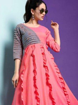 Fancy Fancy Fabric Party Wear Kurti in Pink