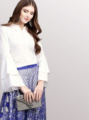 Fancy Faux Crepe Blue and White Party Wear Kurti