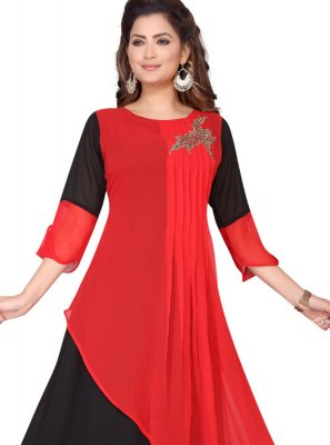 Fancy Faux Georgette Party Wear Kurti