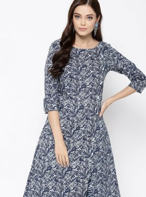 Fancy Grey Cotton Party Wear Kurti