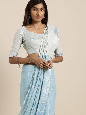 Fancy Linen Classic Saree in Blue