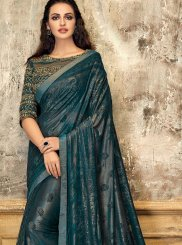 Fancy Lycra Designer Saree in Teal