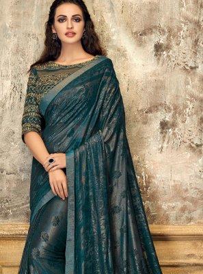 Fancy Lycra Designer Saree in Teal