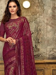 Fancy Lycra Designer Saree in Wine