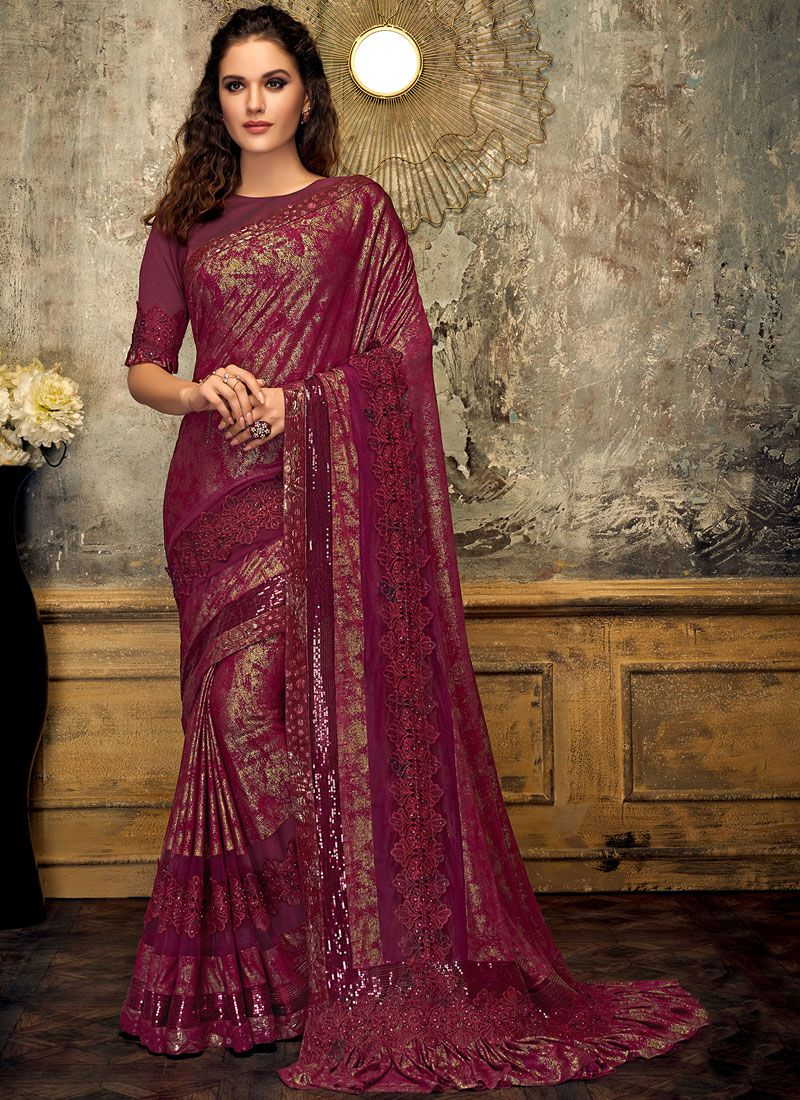 Fancy Lycra Designer Saree in Wine