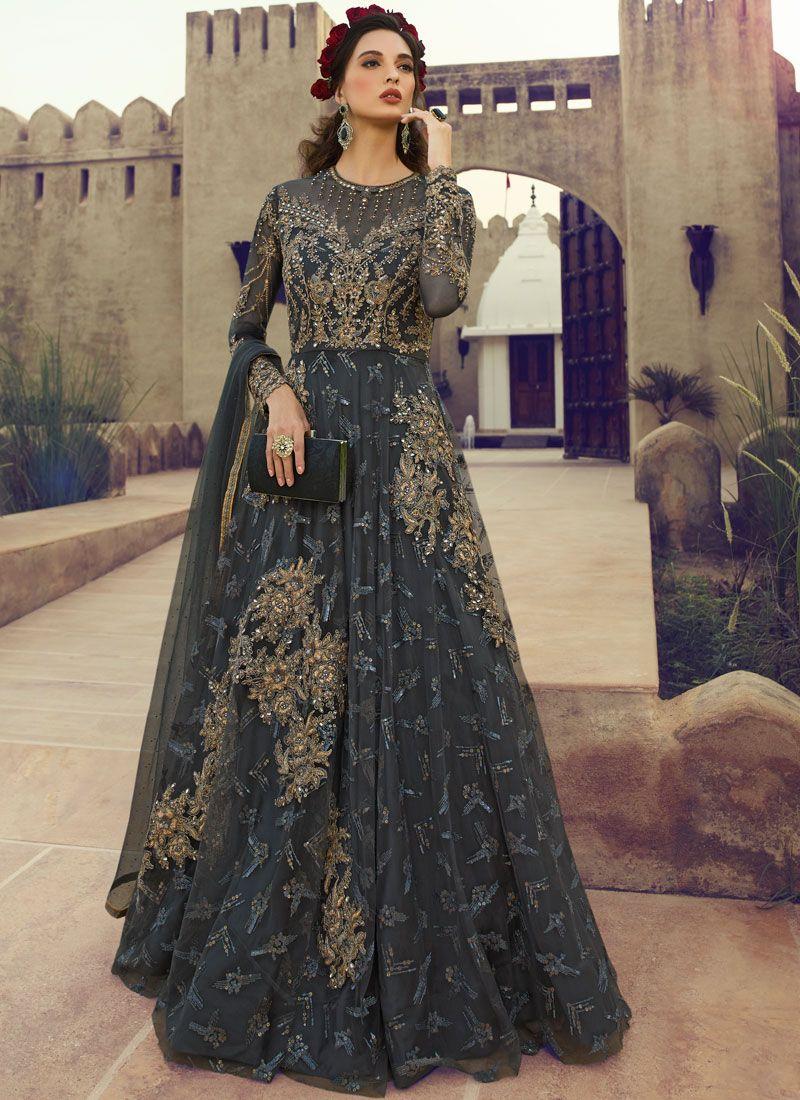 Fancy Net Floor Length Anarkali Suit