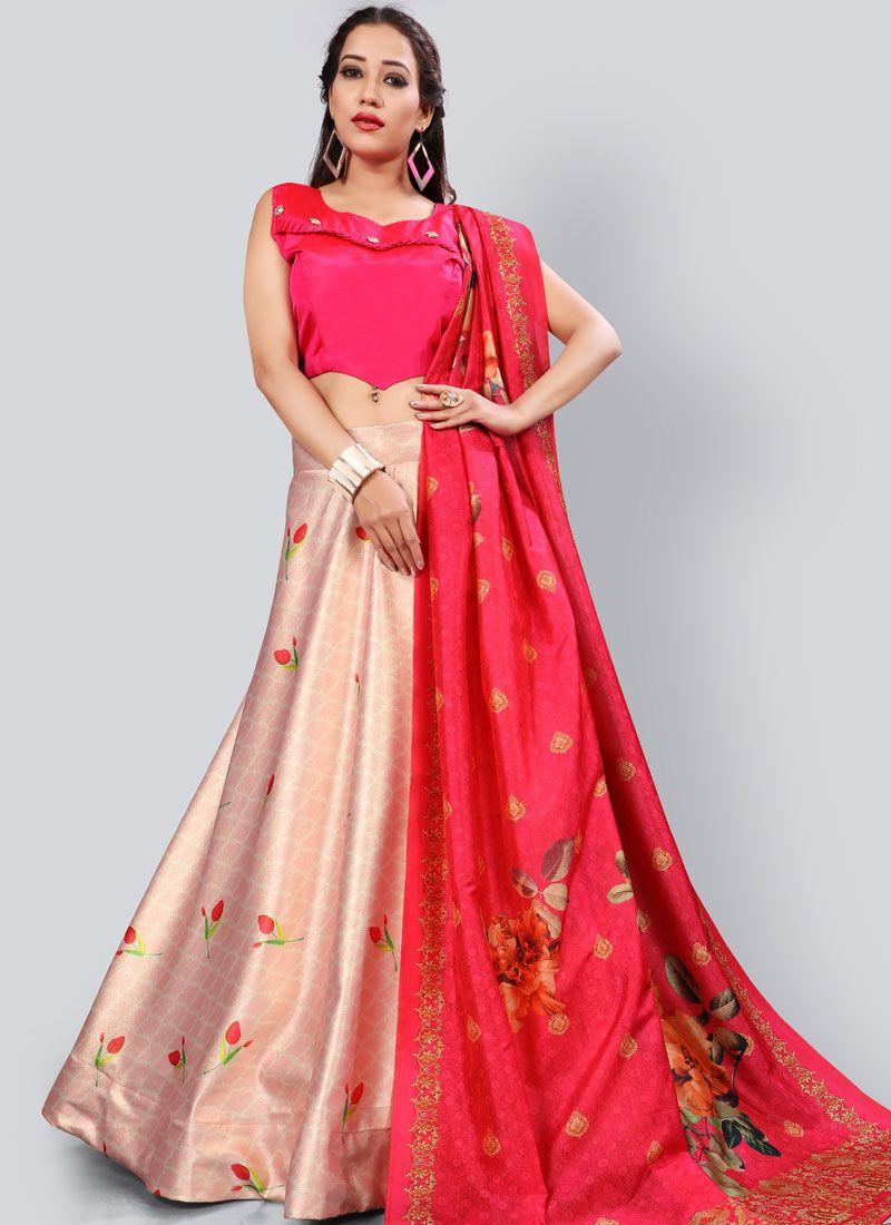 Fancy Pink and Red Lehenga Choli