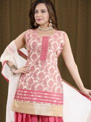 Fancy Pink Banglori Silk Readymade Suit