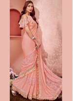 Fancy Pink Lycra Saree