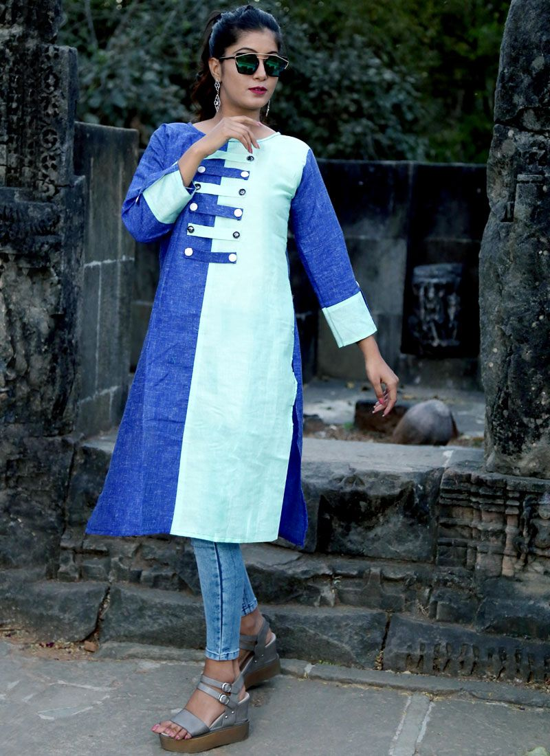 Fancy Polly Cotton Casual Kurti in Blue and White
