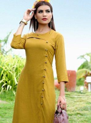Fancy Rayon Party Wear Kurti in Mustard
