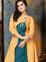 Fancy Teal Rayon Party Wear Kurti