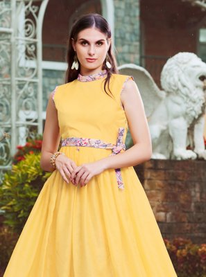 Fancy Yellow Crepe Silk Readymade Gown
