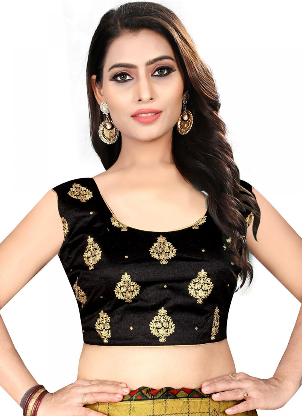 Fascinating  Black Color Blouse With Embroidery Work