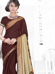 Faux Chiffon Abstract Print Brown Printed Saree