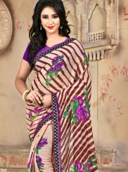 Faux Chiffon Abstract Print Casual Saree in Multi Colour