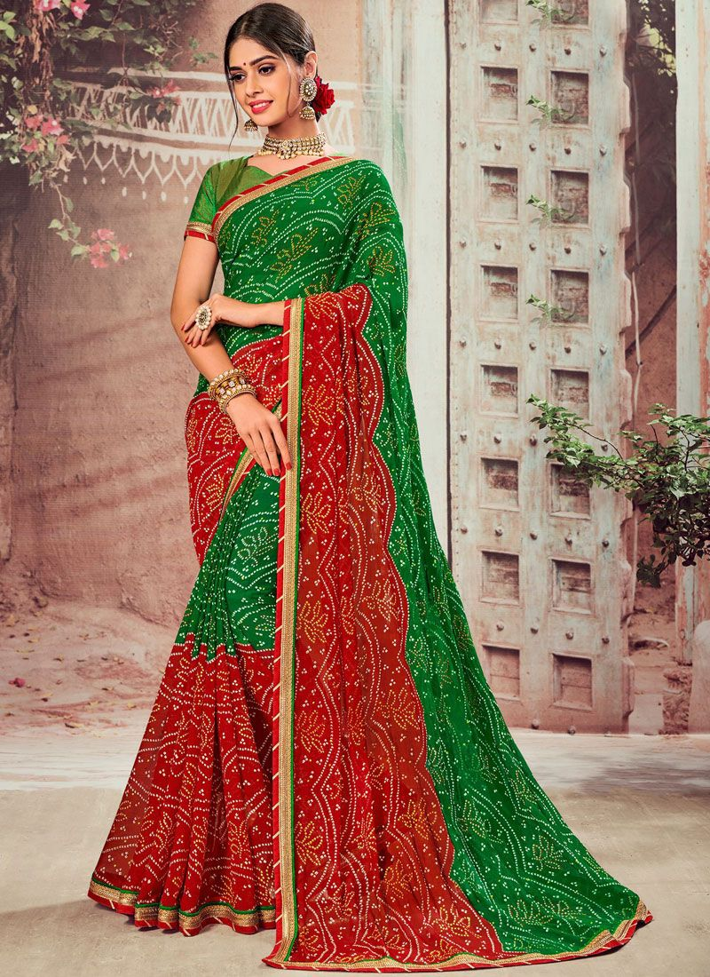 Faux Chiffon Abstract Print Classic Designer Saree