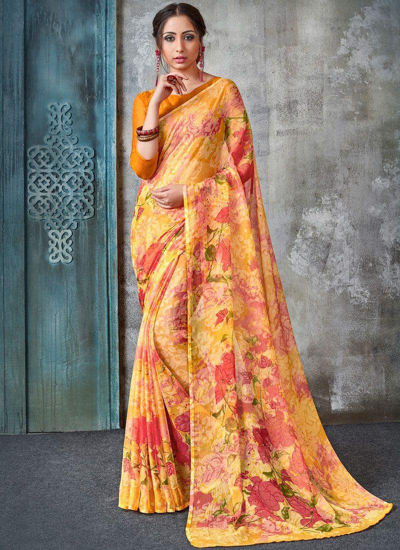 Faux Chiffon Abstract Print Multi Colour Printed Saree