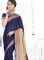 Faux Chiffon Abstract Print Printed Saree in Blue